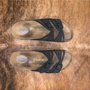Black two strap Birkenstock's